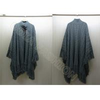 China Solid Color Knitted Ladies Poncho Sweater Dolman Sleeve with Tassel wholesale