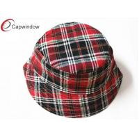 China Women Classical Fisherman Bucket Hat Red Checks Pattern Printing wholesale