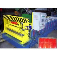 China 50Hz Glazed Tile Roll Forming Machine 9-11 Rows Rollers PLC Control System wholesale