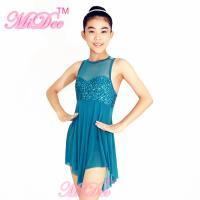 Lyrical Ballet Dance Costumes Teal Magenta Confetti Sequin Bodice Dress