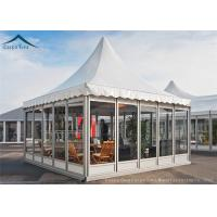 China White Color PVC Roof Pagoda Tents With Clear Glass Wall UV - Resistant wholesale