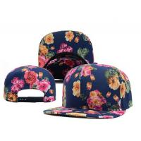 China Flowers Printing Flat Brimmed Baseball Caps , Six Panel Baseball Cap wholesale