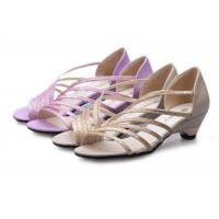 China Low Heel Purple Summer Fashion Sandals With PU Straps Hollow Upper Back Counter wholesale
