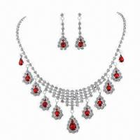 China Ruby Jewelry Set, Used for Bridal/Wedding/Pageant Jewelry Set, with Shinny Rhinestones wholesale