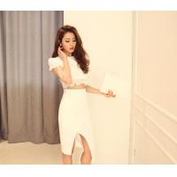 China Round Neck Womens Suit Dress Female Short Sleeved party dresses wholesale