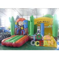 China Kids 0.55mm PVC Cartoon Jungle Jumping Inflatable Bouncer Castle With Slide wholesale