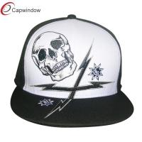 China White Skull Flat Embroidery Hip Hop Caps With Black Peak 0840 wholesale