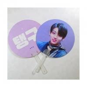 China KPOP 0.6mm PET 3D Hand Fan Lenticular 3D Moving Fan BTS EXO Custom Hand fan of Super Stars wholesale