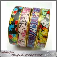 Buy cheap High quality stainless steel fashion printed enamel bangle from wholesalers