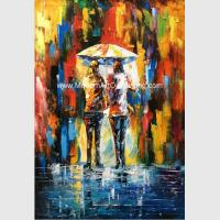 China Framed Palette Knife Oil Painting On Canvas , Abstract Art Paintings Umbrella Girls wholesale