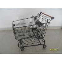 China Metal Supermarket Shopping Carts With Handle Logo Printing And 4 Swivel Casters wholesale