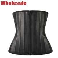 China 2XS XS Black Zipper Latex Sport Waist Trainer To Wear While Working Out wholesale
