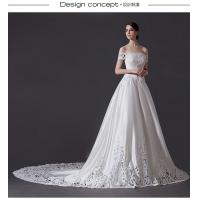 China Empty exquisite carving big wagging tail strapless wedding dresses , Swarovski handmade three-dimensional flower-shaped wholesale
