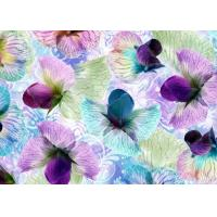 China Anti Wrinkle Digital Silk Jersey Fabric 1.4 Meter With Flowers Decoration wholesale
