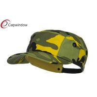 China Light Yellow 5 Panel Camouflage Camper Cap with Buckle Strap Closure wholesale