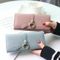China Metal Circle Belt Knot Womens Credit Card Holder Wallet , Multi Functional Students PU Leather Clutch Purse  wholesale