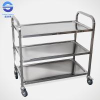 China Three Tier Serving Carts On Wheels , Food Serving Trolley in Stainless Iron wholesale
