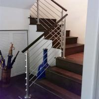 China Steel stair rails and banisters with wooden hand rail design on sale