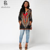 China Dashiki Fabric Womens African Print Winter Jackets With Hoodie Long Sleeve wholesale