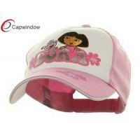 China Cotton Childrens Baseball Caps , White Pink Dora Baseball Cap wholesale
