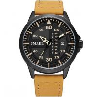 Quality Smael New Fashion Men Genuine Leather Band Waterproof 30m Date and Week Display for sale