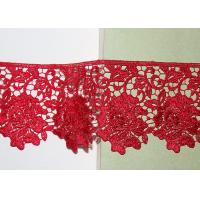 Buy cheap Red Flower Embroidered Lace Trim By The Yard Environmental Protection from wholesalers