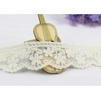 China 3.5 Width White Cotton Lace Trim By The Yard,  Scalloped Floral Mesh Lace Ribbon wholesale