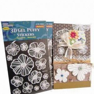 China 3D gel puffy stickers, metallic, glitter wholesale