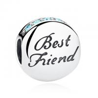 Blue CZ 100% 925 Sterling Silver Charms with Best Friend Engraved For Friendship Gift