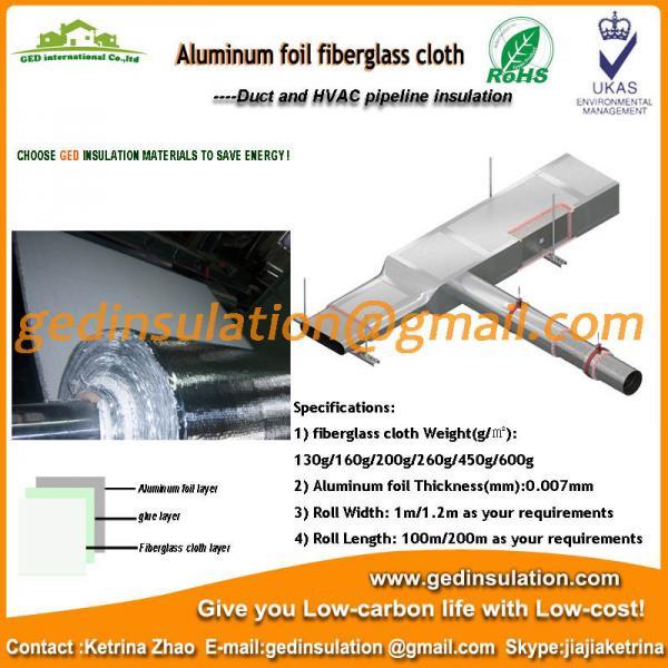 Quality Coating aluminum foil fiberglass cloth as pipe insulation for sale