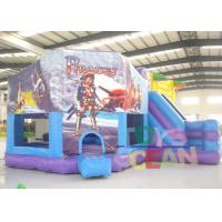 China Purple And Blue Inflatable Cartoon Module Bounce House Pentagon Castle With Slide wholesale
