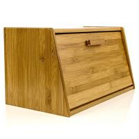 China Beautiful Bamboo Bread Box Wooden Pastry Storage With Lid Shrink Wrap Packing on sale