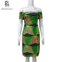 China 100 % cotton wax fabric Slash Neck African print dress Sexy Slash Neck Collar XS-XXL wholesale