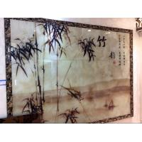 China Landscape Painting Rippled Decorative Glass Panels Simple For Meeting Room wholesale