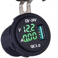 China Waterproof QC 3.0 USB Charger Socket Power Outlet with Digital Voltmeter + Ammeter Monitoring for Car Boat Marine Rv Mot wholesale