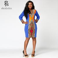 China Dashiki Style Bodycon African Print Dresses , Round Neck African Evening Party Dresses wholesale