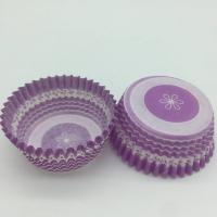 China Purple Round Shape Muffin Paper Cups , Striped Cupcake Liners FDA SGS Standard wholesale