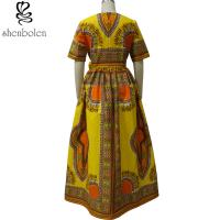 Modern African Print Dresses Dashiki For Elegant V - Neck Classical Print Sleeveless