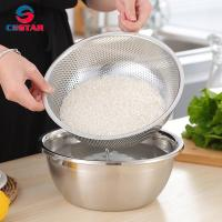 China Round Stainless Steel Fine Mesh Food Strainer Basket Vegetable Fruit Noodles Colander for kitchen Washing Rinsing Draini wholesale