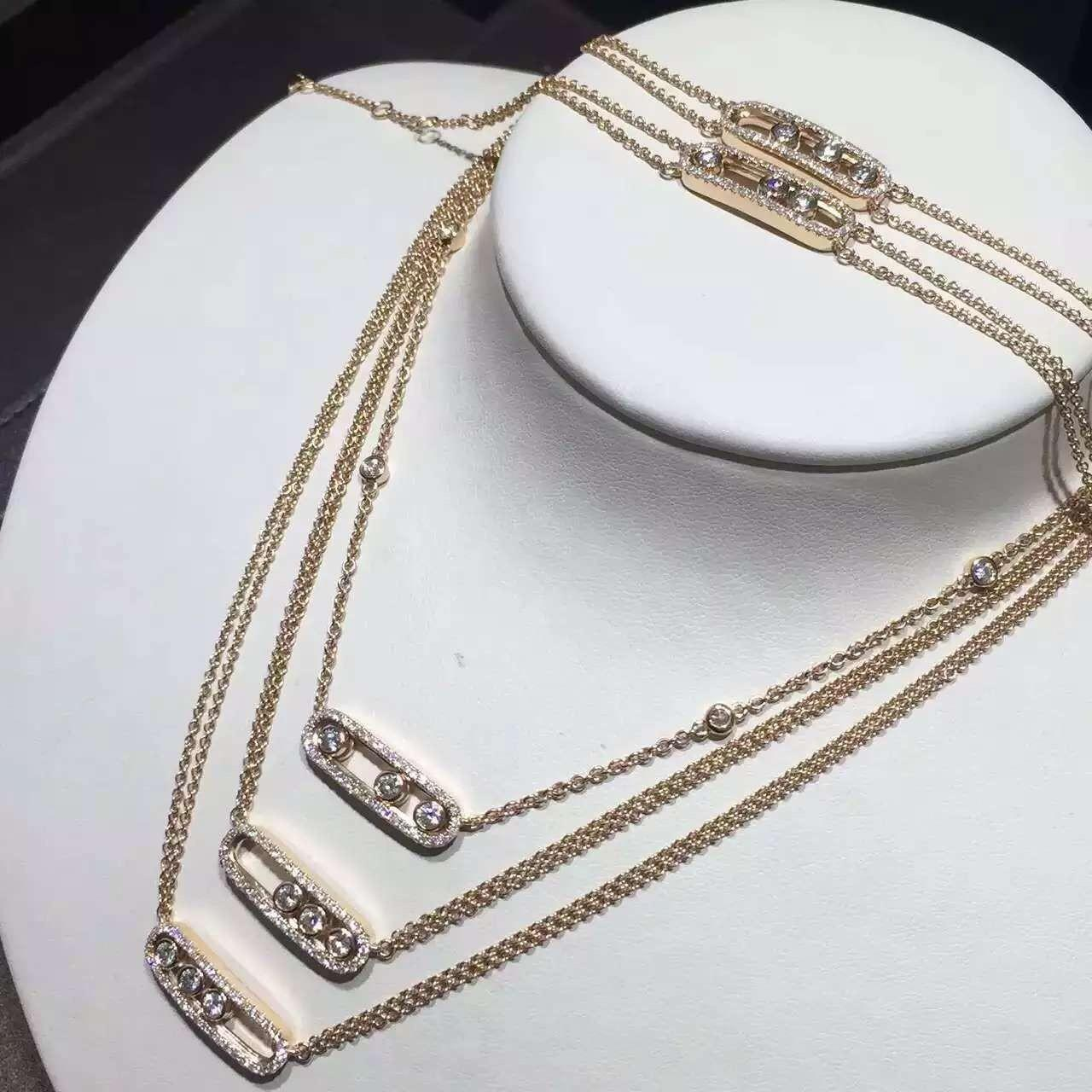 China Messika move diamond necklace in yellow gold paris fine jewelry worldwide shipping wholesale