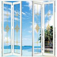 China White Foldable Sliding Doors / Clear Interior Bifold Doors With Glass wholesale