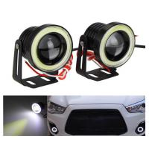 China Waterproof LED Auto Headlight Lighting Fog Light With Lens Halo Angel Eyes Rings COB 30W 12V wholesale