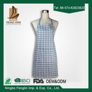 China Fashion Unisex Checker Yarn Dyed Cotton Bib Kitchen Apron With No Sleeve on sale