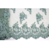 Quality 3D Floral Beaded Embroidered Lace Fabric For Evening Dresses 120 CM Width for sale