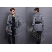 China Autumn Elegant Chunky Womens Wool Sweaters with Belt Cowl Neck in Gray wholesale