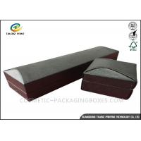 China Matt Black Leather Gift Box , Leather Presentation Box Stamping Printing Handling wholesale