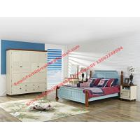 China Mediterranean Leisure Style bedroom furniture in blue sky painting wood bed in European winery modelling wholesale