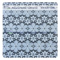 China Nylon Spandex Elastic Blue Floral Lace Fabric Trim For Lady Garment wholesale