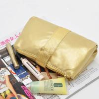 China Portable Toiletry PU Leather Folding Cosmetic Bag  Golden Color For Travel wholesale