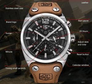 Quality BENYAR Men Leather Strap Waterproof 30m Fashion Leisure Chronograph Quartz Wrist Watches BY-5112 for sale